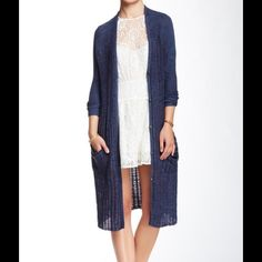 """Free People Stripe Pocket Long Cardigan. V-neck long sleeved cardigan. Front button snap closures. Cable knit with 2 side patch pockets. Approx 39.5"""" in length. 74% cotton, 26% rayon. Navy Free People Sweaters Cardigans"""