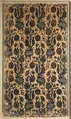 During the seventeenth century, rows of flowering plants became fashionable designs for textiles in Iran, India, and Turkey. In this example, the plants are fantastic conglomerations of blossoms growing out of pools of coiled waves