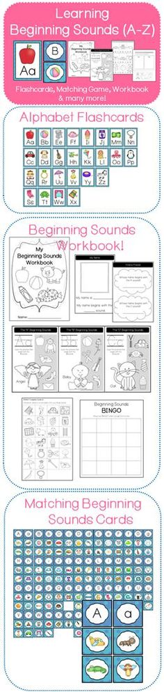 Learn A-Z Beginning Sounds (Matching Game, BINGO, Worksheets & Flashcards)