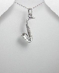 STERLING SILVER TROPICAL ISLAND MERENGUE SAXAPHONE INSTRUMENT PENDANT NECKLACE