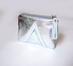 Silver Hologram Leather Pouch Metallic Leather by gmaloudesigns