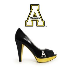 App State Heels - In Stock and Free Shipping. Stunning black patent leather, mountaineer gold, and featuring Fan Feet's trademark rustic chrome hardware $99