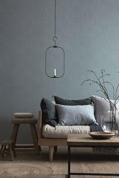 Elegant, muted colours. minimal, yet sumptuous.  Perfection. Boråstapeter Linen, Shadow Blue - fixaodona.se