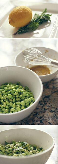 EDAMAME SALAD    2 C. of edamame  2 T. of olive oil  zest of a whole lemon  juice of half a lemon  salt/pepper  Fresh parmesan (and/or feta cheese?)  mint     Part boil the edamame and drain (or thaw if frozen). Mix oil, zest, juice, salt and pepper. Add edamame to bowl and mix. To serve, add shaved cheese and roughly chopped mint.