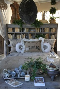 Love the cubby bookcase headboard!