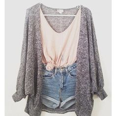 Tied Peach Scoop Neck Tank Top, High Waisted Shorts, And Oversized Grey Cardigan