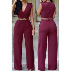 Fashion V Neck Tank Sleeveless Red Polyester One-piece Jumpsuit(Without Belt)