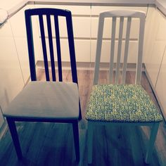 Up cycle project dining room chair painted with white chalk paint and covered in…
