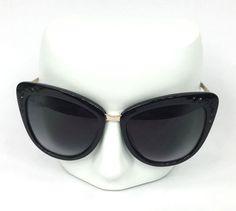 ef1551c3dd10b Kate Spade 080790 Cissy Cat Eye Black Crystals and Gold Tone Sunglasses and  Case  katespadenewyork