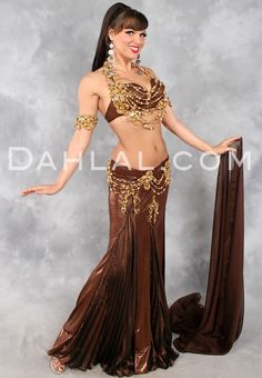 CHOCOLATE DREAM in Chocolate Brown and Gold by Eman Zaki, Egyptian Belly Dance Costume - Dahlal Internationale Store