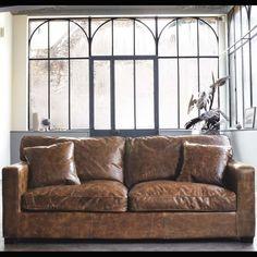 Canape 3 seat sofa bay leather republic office for Canape leather sofa