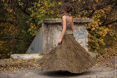 """Купить """" Плакучая ива"""" Коллекция """" Акварельные этюды"""" - оливковый, абстрактный, юбка"""