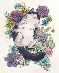 Succulent Cat Illustration Art Inspo, Kunst Inspo, Art And Illustration, Cat Illustrations, Art Mignon, Ouvrages D'art, Crazy Cats, Cat Art, Animal Drawings