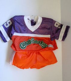 Coleco Vintage Cabbage Patch Doll Clothes Orange Purple Hockey Outfit With Pads #ClothingAccessories