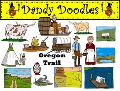 Oregon Trail Clip Art: 29 PNG images (15 color and 14 BW)  Great collection! $
