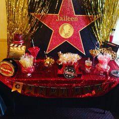 Hollywood Theme Candy Buffet for Jai's Sweet 16 ❤️