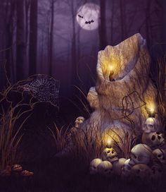 150x220cm(5x7ft) photography backdrops halloween Woods skull candle  photo studio background ZJ