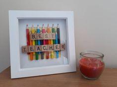Best Teacher crayon box frame by RainbowsAndDolphins on Etsy Scrabble Letter Crafts, Scrabble Frame, Crafts With Scrabble Tiles, Teacher Appreciation Gifts, Teacher Gifts, Christmas Box Frames, Box Frame Art, Diy Frame, Origami