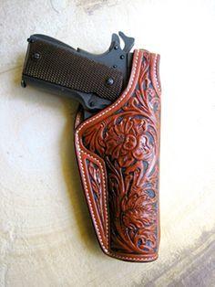 Custom Hand Tooled Leather Buscadero Gun Belt/ Leather Holster ...