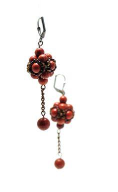 Earrings made of beads - fire polish, toho, minerals