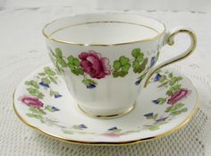 Aynsley Rose and Thistle Tea Cup and Saucer, Vintage Bone China, Teacup and Saucer, Hand Painted