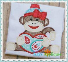 Valentine Sock Monkey Girl 4x4, 5x7, 6x10, 8x8 - Baby Kay's Appliques