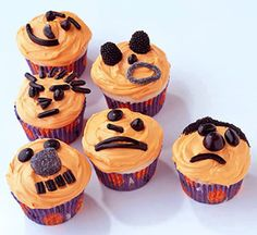 Jack-O-Lantern Cupcakes. Recipe and more Halloween ideas: http://www.midwestliving.com/food/holiday/13-great-halloween-treat-recipes/page/5/0http://www.midwestliving.com/food/holiday/13-great-halloween-treat-recipes/page/5/0