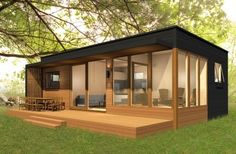 Prefab Home Model: miniHome Duo 36 + Size: 726 sq ft. BR: BA: a lovely plant. I'd make a few changes but not much. Could the flat roof be a patio? Modern Tiny House, Tiny House Living, Tiny House Design, Small House Plans, Modern Prefab Homes, Modular Homes, Prefab Tiny Houses, Prefab Homes Canada, Bungalows