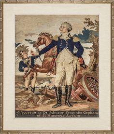 George Washington at Trenton, American Berlin Wool Work Needlepoint Wool Textile