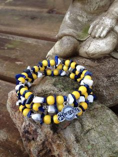 Milwaukee Brewers Bling three wrap memory wire by DFInspirations, $35.00