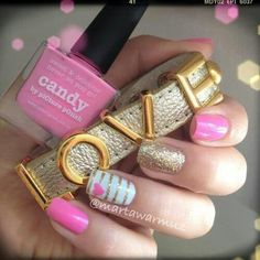 Pink and gold nails - this is so simple and so cute, just got this today and I love them!  ~ Lisa  Twinmomma