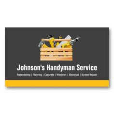 Handyman Business Cards Templates Free | Man Spackling Drywall Business Card Business Cards And Card Templates
