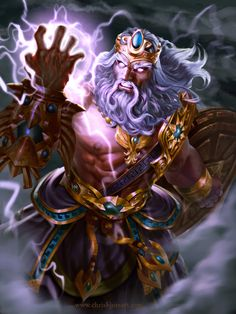Zeus is the brother of Poseidon and Hades.  He is one of the three original Olympians.  His weapon is the lighting bolt.