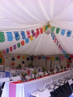 Mexican theme | bunting | paper pom poms