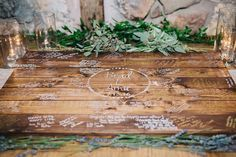 ♡ guestbook °rustic wooden coffee table° ♡