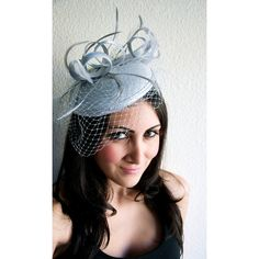 """Gray Fascinator """"Juliet"""" Gray Round Felt Sinamay Hat w/ Feathers and... ($62) ❤ liked on Polyvore featuring accessories, hats, grey hat, feather fascinator, hair fascinators, gray hat and grey fascinator"""