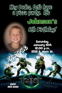 Teenage Mutant Ninja Turtle Birthday Invitations   Get these invitations RIGHT NOW. Design yourself online, download and print IMMEDIATELY! Or choose my printing services.   No software download is required. Free to try!