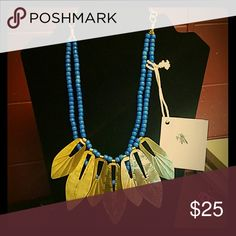Beautiful tribal necklace Blue and Gold necklace perfect for work or going out to give gou that flare people notice! NoonDay Collection  Jewelry Necklaces