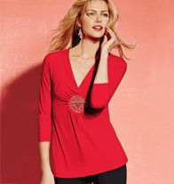 Medallion-Accented Top in Red