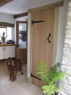 Look at this adorably cheeky dog sticking his tongue out stood in fron of his & Ledge and Brace Cottage Door solid oak #OakDoors #Ledge\u0026Brace ...