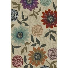 Shop Oriental Weavers of America Cumberland Rectangular Cream Floral Woven Area Rug (Common: 4-ft x 6-ft; Actual: 3.83-ft x 5.41-ft) at Lowes.com
