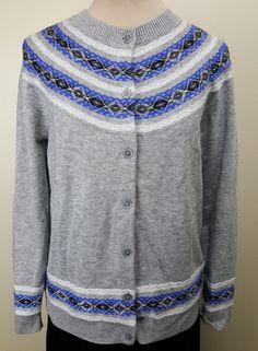 Talbots cardigan Large stylised Fair Isle gray cobalt blue nylon lambswool blend #Talbots #Cardigan