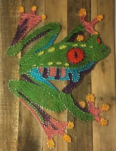 tree frog peace frog psychedelic custom string art hippie