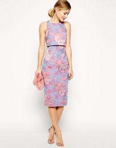 3111 Изображение 4 из Жаккардовое платье с укороченным топом и пастельным цветочным принтом ASOS PETITE