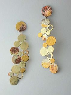 Aggie Beynon, Hamilton Ontario: Earrings, powdered metal (pure gold, silver and silver), 18k