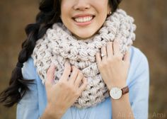 Crochet this Jumbo Puff Stitch Cowl that can be pulled over the head and worn as a snood! Free pattern and step-by-step tutorial available!
