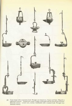 Oil or fat lamps, 16th century.
