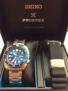 SEIKO Mens PROSPEX Limited Edition Blue Lagoon Turtle Automatic WATCH SRPB11