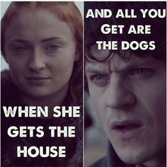 Game of thrones. Sansa and Ramsay Game Of Thrones Series, Got Game Of Thrones, Game Of Thrones Quotes, Game Of Thrones Funny, Valar Dohaeris, Valar Morghulis, My Champion, Got Memes, Sansa Stark