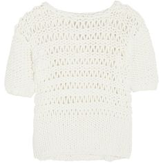 Paul & Joe Oversized open-knit cotton-blend sweater ($138) ❤ liked on Polyvore featuring tops, sweaters, shirts, blouses, jumpers, white, white oversized sweater, over sized sweaters, shirt sweater and white top